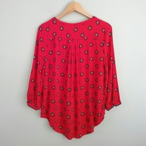 jcpenney Tops - JCP//Red Boho Floral Button Down Top